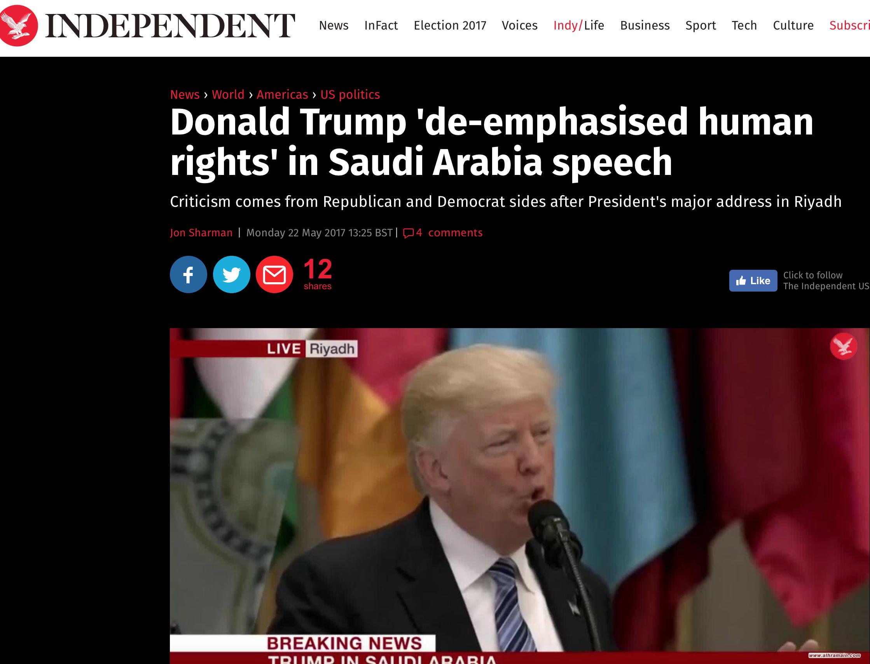 """صحيفة """"إندبندنت"""": ترامب لم يشدّد على أهمية حقوق الإنسان خلال زيارته للسعودية"""