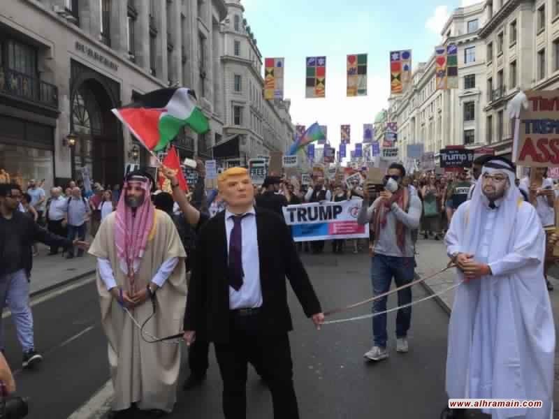 «بن سلمان» و«بن زايد» مكبلان بالسلاسل خلف «ترامب» بلندن