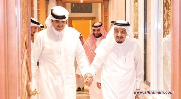 استقبال الامير بن سلمان للشيخ عبد الله بن علي بن جاسم رئيس الفرع الثاني المنافس في الاسرة القطرية الحاكمة