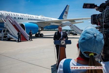 بومبيو يصل إلى السعودية لبحث التوتر مع إيران بعد إسقاطها الخميس طائرة مسيرة أميركية تقول طهران إنها اخترقت مجالها الجوي فيما تنفي واشنطن ذلك